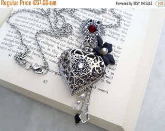 20% OFF Pocket Watch Pendant Necklace - Swarovski Crystals and Pearls - Filigree Heart - Victorian Gothic Locket Jewelry