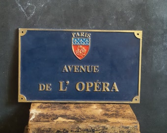 Vintage French enamel street sign of Paris. Avenue de L'Opera