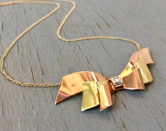 Vintage 14k Gold Diamond Bow Necklace Conversion Necklace OOAK 1940s Retro Ribbon Gold and Diamond Fine Jewelry Gift for Her
