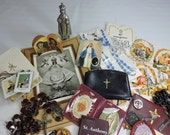 Vintage Religious Lot 25 Pieces Rosaries, Statue, Prayer Book, Medals and more...