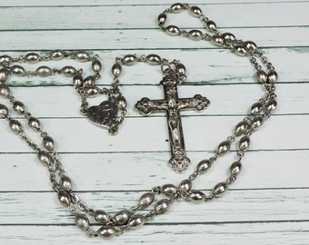 Vintage Rosary, Silver tone Beads, Crucifix, Religious Jewelry