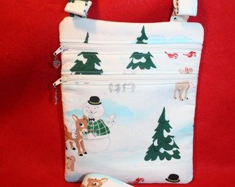 Handcrafted Crossbody Bag Rudolph the Red Nose Reindeer     FREE SHIP