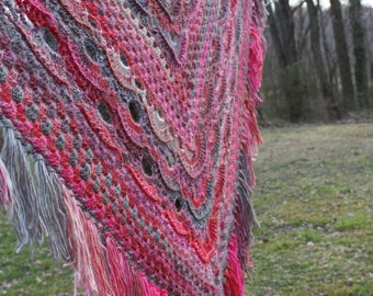 Hand crocheted 100% acrylic Pinks -Strawberry - Gray Shawl    -  Free Shipping