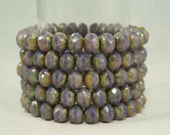 8x6MM Lavender Faceted Heavy Picasso Mix Rondell Glass Beads 15 Pcs