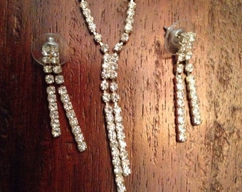 Vintage rhinestone necklace and pierced earring set, 1950