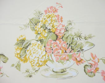 """Vintage California Hand Prints Tablecloth - Butter Yellow With Floral Arrangement in Bowl - Peach Yellow Green -  52"""" x 67"""" Rectangle"""