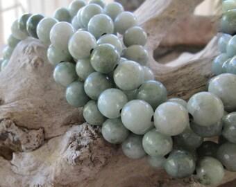 10 Large hole bead 10mm Round Burma Jade Big 2.5mm Hole Pale-Med  Soft Green Gemstones