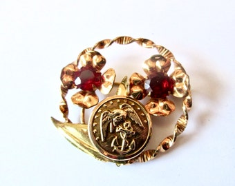 MARINE CORPS antique BUTTON brooch pin, better than a corsage. One of a kind
