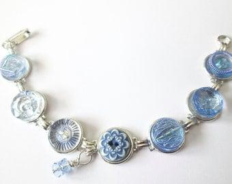 BLUE vintage button bracelet, silver links. One of a kind