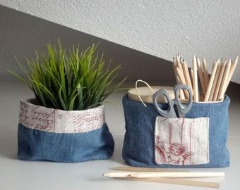 Storage fabric basket - desk storage basket - decorative baskets - denim bins