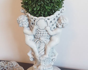 Romantic Cherubs Vase Boxwood Topiary Vintage Grey Cement Garden Style Wedding Romantic Country Shabby Chic Cottage French Farmhouse Decor