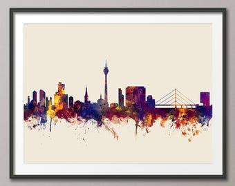 Düsseldorf Skyline, Düsseldorf Germany Cityscape Art Print (2830)