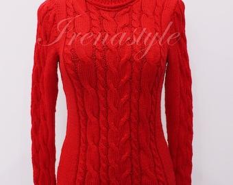 Turtleneck sweater, Sweater, Women's sweater, Hand Knit Sweater Cotton