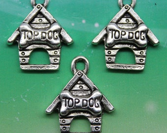 1 Dog House Charm, Antique Silver 19 x 16 mm U.S Seller - sc654