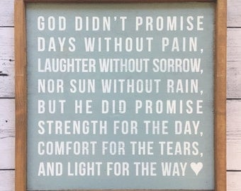 "Distressed Wood Sign - ""God didn't promise days without pain..."" - Rustic Farmhouse Home Decor"