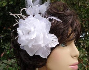 Bridal Headpiece, White Gardenia, Floral Hair Clip, Bridal Accessory, REX17415