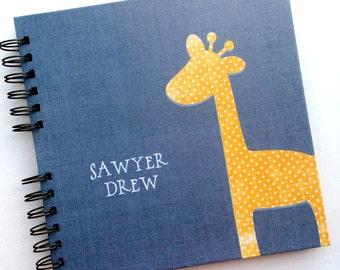 Baby Book |  Baby Memory Album | Navy Orange Giraffe Wire Bound Baby Memory Book Keepsake Album