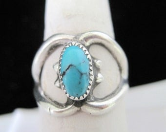 Native American  Sterling Ring - Sand Cast -  Turquoise Stone  - Size 8 - Vintage Ring