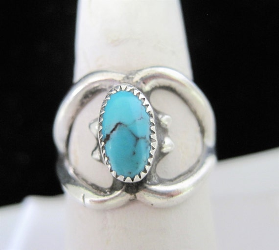 Sterling Turquoise Ring - Sand Cast -  Turquoise Stone  - Size 8 - Vintage Ring