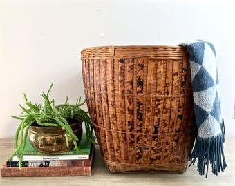 Huge Vintage Bamboo Rattan Wicker Basket Large Hand Woven Indoor Planter Container