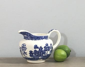 Vintage Blue Willow Small Pitcher English Porcelain Blue White Serving Preppy Chinoiserie Chic
