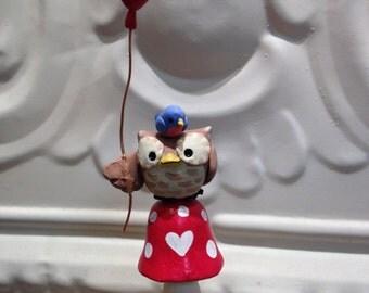 Cute owl sitting on mushroom holding balloon with bluebird- Cute Christmas gift