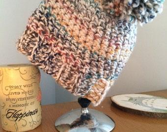 Rainbow large stitch crochet slouchy hat with pom-pom