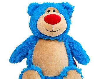 Personalised Teddy Bear Stuffie, Blue, Baby, gift, New Baby, soft, Stuffed, Animal, Embroidered, Keepsake, Christening, Wedding, Birthday
