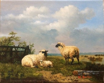 Sheep in landscape Oil Painting Free Shipping