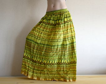 Long skirt - Gypsy Skirt - Maxi Skirt - Peasant Skirt - Yellow skirt by Chandrika Shop Graphic Pattern skirt