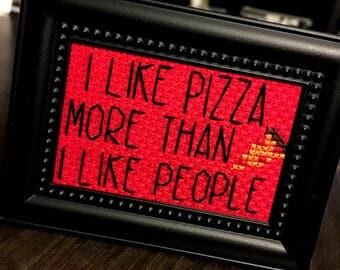 Mini Black Painted Framed Cross Stitch - I Like Pizza More Than I Like People