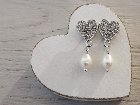 Silver & White Topaz Heart Earrings With Freshwater Pearls - Sterling Silver