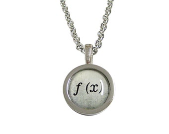 Bordered Mathematical Function of X Pendant Necklace