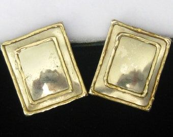 """LUCIANO signed Brutalist Mixed Metal Earrings.  Silver Rectangles with Brass Edges & Border Frame.  1-3/8"""" L x 1-3/16"""" W."""