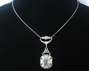 Art Deco Sterling Pendant Necklace with Pyrite Marcasite Accents and a Large Clear Quartz Scarab at Center of 4th/Final Drop Section.