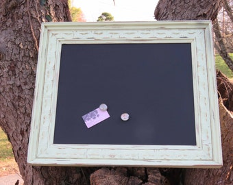 Large Light Green Wooden Frame - Magnetic Chalkboard -