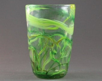 Hand Blown-Feathered-Pint Glass