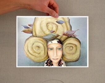 Karmela Princess Forest- glicee print- Nursery wall art, print, illustration print, princess print, birds print, for kids, digital print