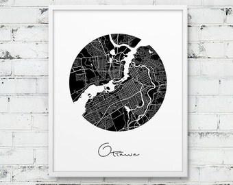 Ottawa City Street Map Print. Ottawa Urban Map Poster. Black & White Ottawa Ontario Canada Map Print. Modern Map Home Decor. Printable Art