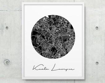 Kuala Lumpur City Street Map Print. Kuala Lumpur Urban Map Poster. Black White Kuala Lumpur Malaysia Print. Map Decor Travel Gift. Printable