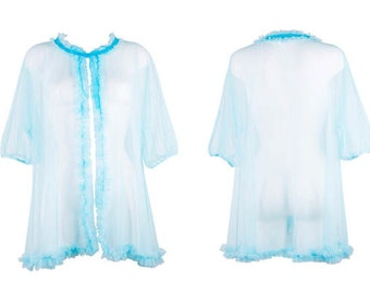 Tiffany Turquoise Mesh Ruffled Bed Jacket, very 60s pinup girl, vintage style peignoir, Vintage Style Lingerie, Sheer Nightwear