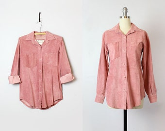 vintage suede shirt  / 1980s blush rose pink suede shirt / suede leather blouse / pink suede top / leather button down shirt