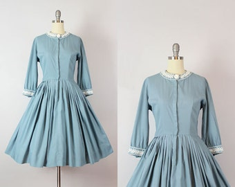 vintage 50s dress / 1950s robins egg blue dress / cotton and silk dress / fit and flare dress / embroidered collar dress / True Blue dress