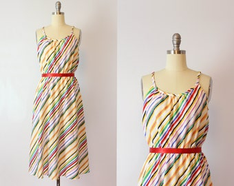 vintage 70s striped sundress / 1970s rainbow striped dress / diagonal striped summer dress / Spirograph dress