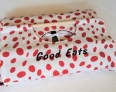 "CLEARANCE ""Good Eats"" SAMPLE Red Splatter Dot Dish Tote 9x13 - Red White Black, Fred Shipping Made in USA"