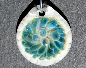 Blown Glass Pendant, Blue Glass Implosion, Borosilicate Jewelry, Lampwork Focal Bead, Handblown Necklace