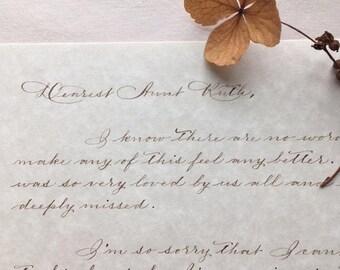 Sympathy Letter Handwritten Calligraphy