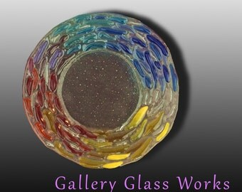 """Rainbow Plate1-  Fused Glass rimmed Dish 7"""""""