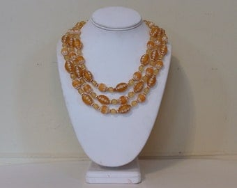 vintage 1960s Multi Strand Beaded Necklace - Citrine Beads with Etched White Flowers
