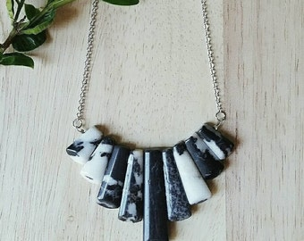 Black & White Stone Bib Necklace /  Nuetral Stone Jewlery  Ready to Ship Jewelry